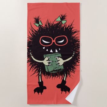Geek Girl Evil Bug Student Loves Reading Beach Towel