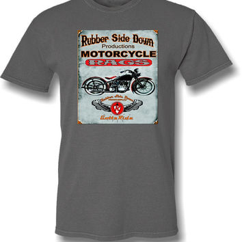 Motorcycle T-shirt- Vintage Motorcycle Retro Look-Men's Motorcycle tshirt in Light Charcoal Grey