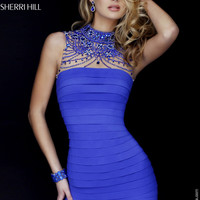 Sherri Hill 32263 Glitzy Beaded Illusion Bandage Dress