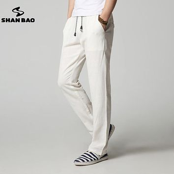 SHAN BAO brand high quality thin section loose linen casual pants men 2017 summer pure color men's straight trousers 5 colors