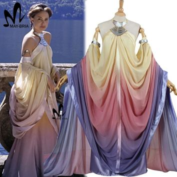 2017 star wars costume Revenge of the Sith Padme Amidala lake dress Star Wars Padme Amidala costume cosplay dress custom made