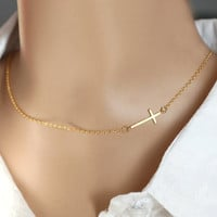 Gold sideways cross necklace, tiny sideways cross, Skinny cross,  Gold Cross, Gift Idea for Birthday, Everyday Dainty Necklace