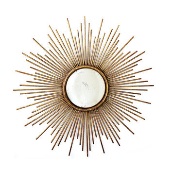 Antiqued Gold Sunburst Wall Mirror
