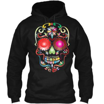Colorful Sugar Skull  for Mexican Day Of The Dead Pullover Hoodie 8 oz