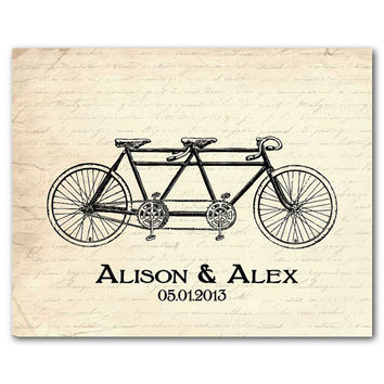Personalized Vintage Wall Art - Tandem Bike Wall Print - Wedding Anniversary Gift - Bicycle Wall Art - distressed look - antique bike
