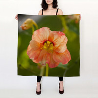 Printed Silk Scarf, Floral Scarf, Flower Scarf, Nature Scarf, Green Scarf, Orange Scarf Silk Square Scarf Printed Scarf Art Scarf Long Scarf