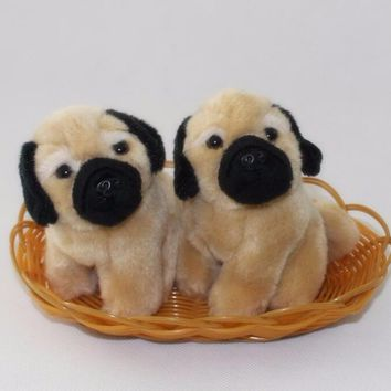 Two Pug Dogs Stuffed Animal Plush Toy