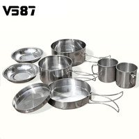 Stainless Steel Cookware 8 Pcs/Set Outdoor Folding Lightweight Small Camping Cookset Travel Kits Picnic Bowl Pot Pan 1 Set