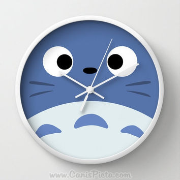 Blue Totoro Wall Clock in Natural Wood, Black, or White Frames Anime Medium Manga Troll Hayao Miyazaki Studio Ghibli Gift Home Decorative