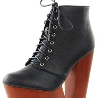 Make Me Chic TriMe Black Cutout Wooden Wedge Ankle Boots shop Boots at MakeMeChic.com