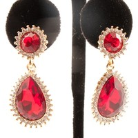 Drop Everything Crystal Drop Earrings - Red
