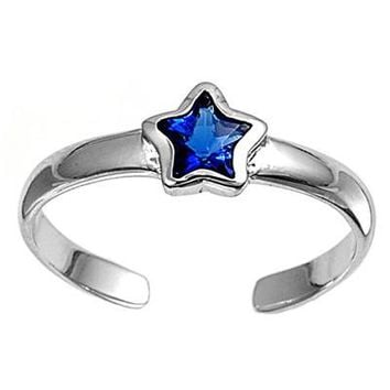 Sterling Silver Star 5MM  Toe Ring/ Knuckle/ Mid-Finger CZ Sapphire CZ