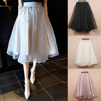 2015 spring summer new long skirt Beaded waist elastic solid ladies Eugen Tutu Skirt yarn black ivory gray skirt beaded = 1946295812