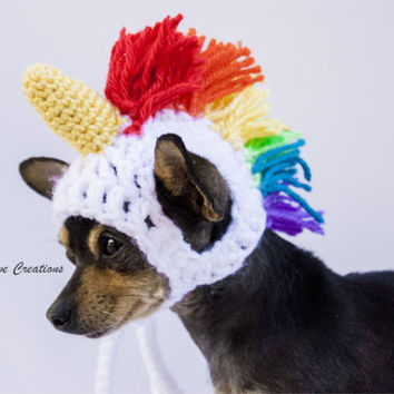 204acd60a36 Unicorn Dog Hat - Rainbow Unicorn - Dog Costume - Pet Hat - Cat Hat - Hand  Crochet - D