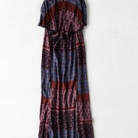 AEO Women's Ruffled Top Maxi Dress (Burgundy)