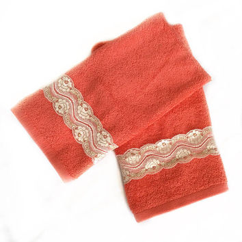Bright Coral Decorative Towel set, Hand Towel Set of 2 New House Gift, Kitchen hand towels, New Apartment Gift, Housewarming Gift idea