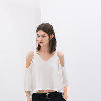 White Cutout-Shoulder Chiffon Blouse