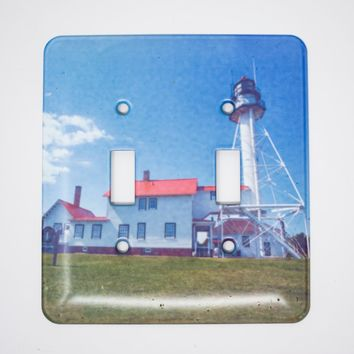 Whitefish Point Michigan Lighthouse Light Switchplate, Hand Imprinted Photograph