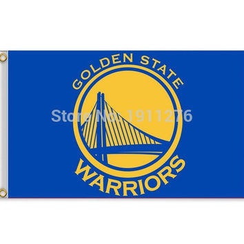 Golden State Warriors Flag 3x5 FT 150X90CM Banner 100D Polyester NBA flag , free shipping