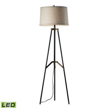 D310-LED Functional Tripod LED Floor Lamp in Restoration Black and Aged Gold - Free Shipping!