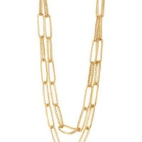 Gold Long Double Mesh Chain Necklace by Charlotte Russe