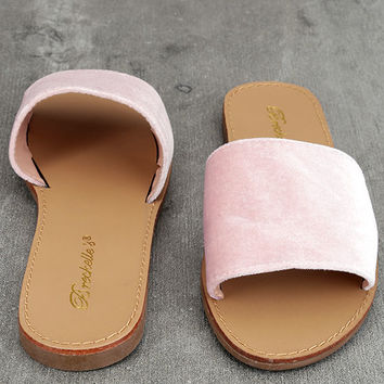 Taren Blush Velvet Slide Sandals