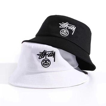 """Stussy"" Unisex Simple Casual Letter Embroidery Bucket Hat Fisherman Cap Couple Fashion Sun Hat"