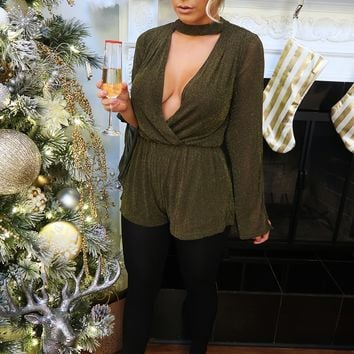 Tis' The Season Romper: Evergreen/Gold