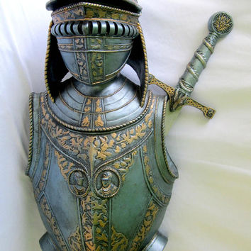 Medieval Armour Knight Warrior Sword Display Holder Weaponry Helmet Breast Plate Set Decor