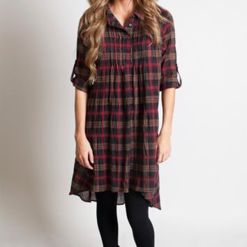 Plaid Button Up Dress