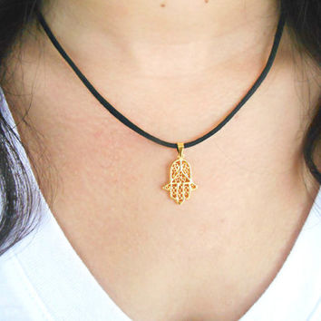 Gold Hamsa Charm Necklace Dainty Jewelry Suede Pendant Leather Cord Necklace Bohemian Jewelry
