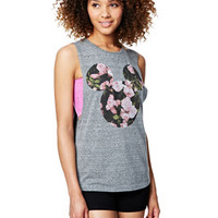 Mickey Floral Fill Tank - Heather Grey