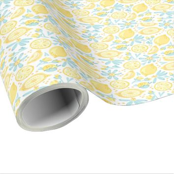 Yellow Lemons & Pastel Blue Flowers Pattern Wrapping Paper