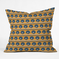 Vy La Geo Bird Print Blue Outdoor Throw Pillow