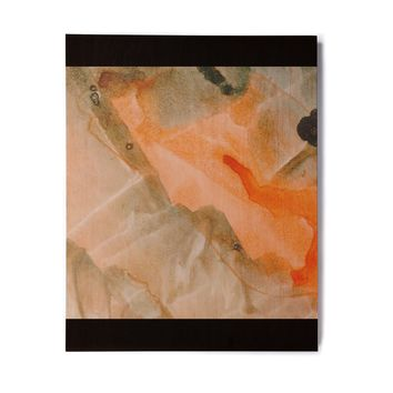 "Mmartabc ""Watercolor Stains"" Coral Pastel Painting Birchwood Wall Art"