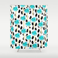 Palm Trees and Dots Shower Curtain by Bouffants And Broken Hearts