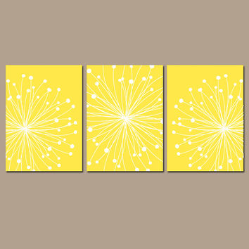 DANDELION Wall Art CANVAS or Prints YELLOW Bedroom Pictures Bathroom Artwork Wall Art Flower Burst Dandelion Set of 3 Home Decor Art