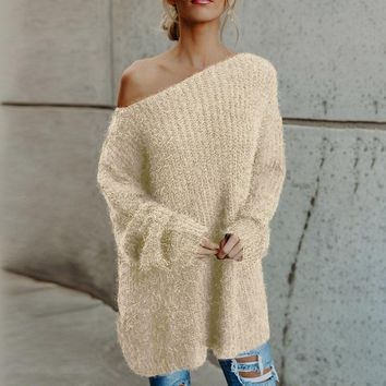 2018 Autumn Women Sexy Off Shoulder Long Sleeve Pullover Jumper Elegant Ladies Fluffy Knitted Long Sweater Casual Solid Knitwear