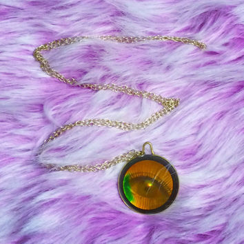EVIL EYE Necklace - Holographic Eye of Enchantment Vintage Hologram Necklace, Cool Holiday Stocking Stuffer Gifts for Her, Girlfriend Gift