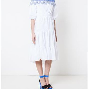 PETER PILOTTO | Pallas Tiered Cotton and Lace Dress | brownsfashion.com | The Finest Edit of Luxury Fashion | Clothes, Shoes, Bags and Accessories for Men & Women