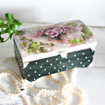Jewelry Box Shabby Chic Treasure Chest Rose Pearl Birthday Wedding Gift