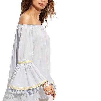 SheIn Womens Vintage Tops Ladies Autumn Off The Shoulder Long Flare Sleeve Embroidered Tape Detail Fringe Blouse
