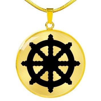 Dharma Wheel - 18k Gold Finished Luxury Necklace