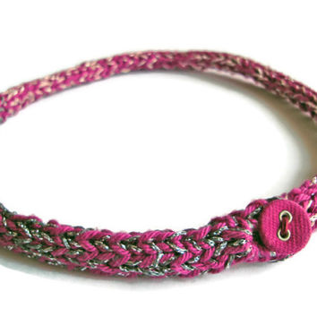 Crochet Choker / knit necklace / simple knitted jewelry / cotton bracelet / crochet bracelet / crochet pink wrap / cable knit bracelet