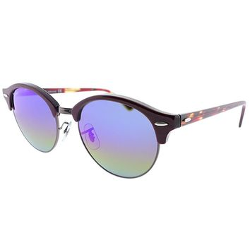 Ray-Ban Clubround RB 4246 1222C2 Bordeaux Red Sunglasses Rainbow Flash Lens 51mm