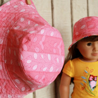 Matching Girl and Doll Reversible Bucket Hat - Pink - Made to Order