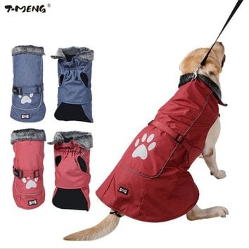T-MENG Waterproof & Reflective Dog Clothes Winter Warm Fur Collar Vest Jacket Coat Sport Clothing for Small Medium Large Dogs