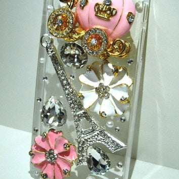 3D Bling rhinestone iPhone 5 case cover with alloy flower pumpkin coach  Eiffel tower