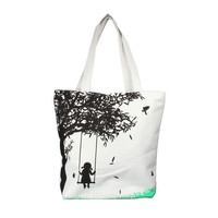 Casual Women's Messenger Shoulder Bag - Girl on a Swing