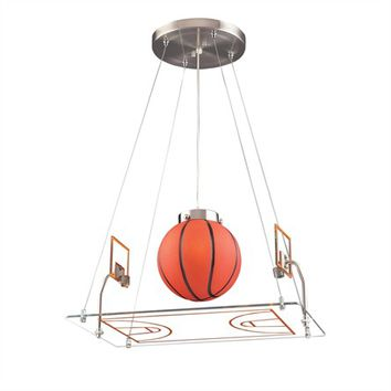 Basketball Court Pendant in Satin Nickel
